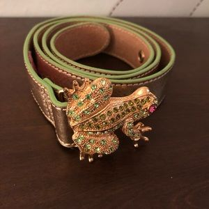 Gold/rhinestone frog belt by Lilly Pulitzer